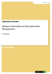 Titel: Business Essentials im Internationalen Management