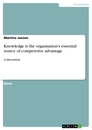 Titel: Knowledge is the organisation's essential source of competetive advantage