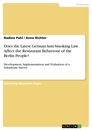 Titel: Does the Latest German Anti-Smoking Law Affect the Restaurant Behaviour of the Berlin People?