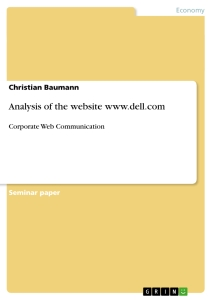 Titel: Analysis of the website www.dell.com