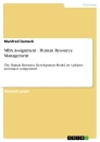 Titel: MBA Assignment - Human Resource Management