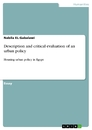 Titel: Description and critical evaluation of an urban policy