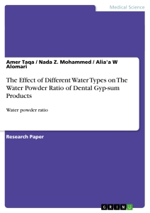 Titel: The Effect of Different Water Types on The Water Powder Ratio of Dental Gyp-sum Products