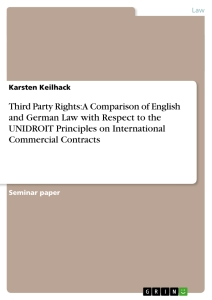 Titel: Third Party Rights: A Comparison of English and German Law with Respect to the UNIDROIT Principles on International Commercial Contracts