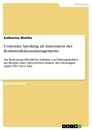 Titel: Corporate Speaking als Instrument des Kommunikationsmanagements