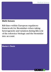 Titel: Rift-lines within European regulatory framework for Biosimilars when taking heterogeneity and variation during lifecycle of the reference biologic and the biosimilar into account