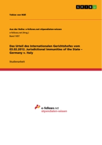 Titel: Das Urteil des Internationalen Gerichtshofes vom 03.02.2012. Jurisdictional Immunities of the State – Germany v. Italy