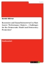"Titel: Rezension und Hausarbeitsentwurf zu Marc Saxers ""Performance Matters – Challenges for the Democratic Model and Democracy Promotion"""