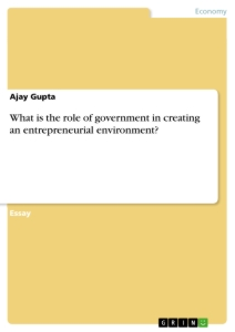 Titel: What is the role of government in creating an entrepreneurial environment?