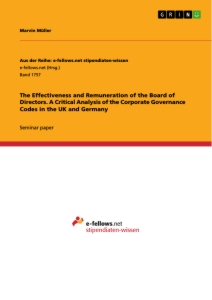 Titel: The Effectiveness and Remuneration of the Board of Directors. A Critical Analysis of the Corporate Governance Codes in the UK and Germany