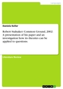 Titel: Robert Stalnaker: Common Ground, 2002: A presentation of his paper and an investigation how its theories can be applied to questions.