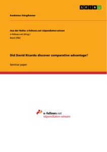 Titel: Did David Ricardo discover comparative advantage?