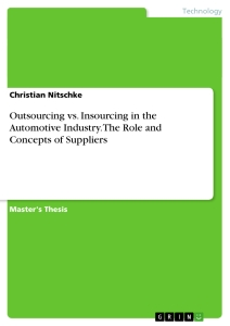 Titel: Outsourcing vs. Insourcing in the Automotive Industry. The Role and Concepts of Suppliers