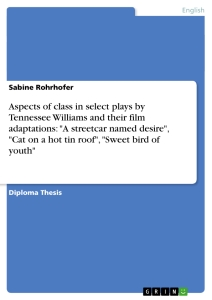 """Titel: Aspects of class in select plays by Tennessee Williams and their film adaptations:  """"A streetcar named desire"""",  """"Cat on a hot tin roof"""",  """"Sweet bird of youth"""""""