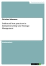 Titel: Evidenced best practices in Entrepreneurship and Strategic Management