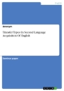 Titel: Transfer Types In Second Language Acquisition Of English