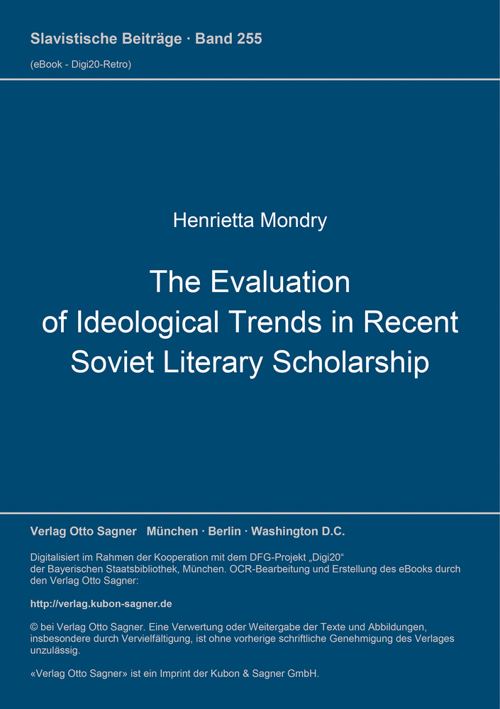 Titel: The Evaluation of Ideological Trends in Recent Soviet Literary Scholarship