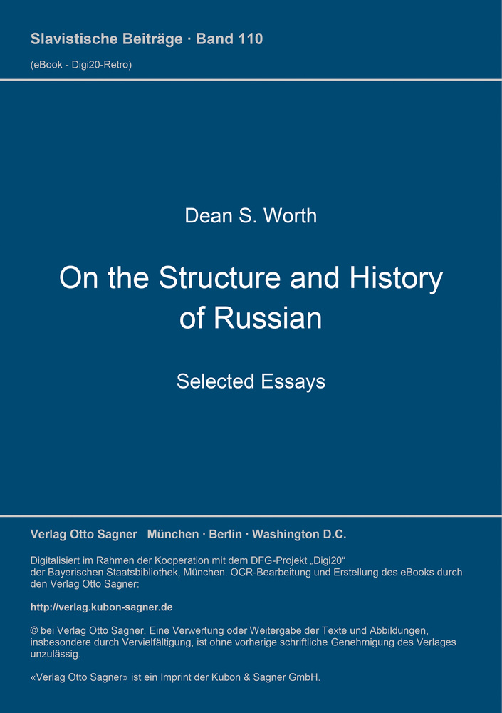 Titel: On the Structure and History of Russian. Selected Essays