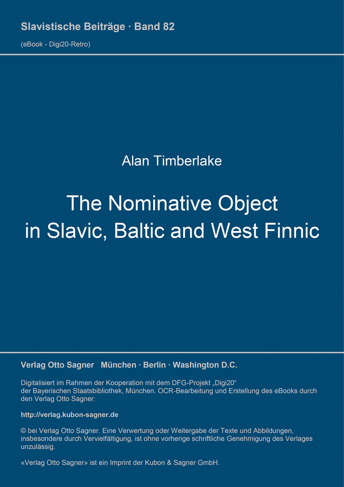 Titel: The Nominative Object in Slavic, Baltic, and West Finnic