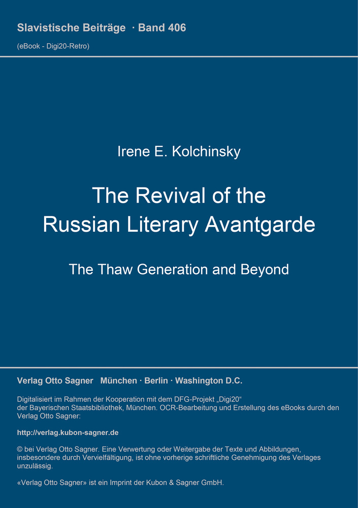 Titel: The Revival of the Russian Literary Avantgarde