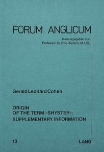 Title: Origin of the Term «Shyster»: Supplementary Information