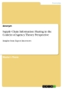 Titel: Supply Chain Information Sharing in the Context of Agency Theory Perspective