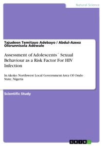 Titel: Assessment of Adolescents´ Sexual Behaviour as a Risk Factor For HIV Infection
