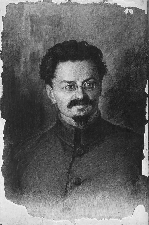 Conté-Zeichnung von Sergej Pitschugin aus dem Jahr 1923. Nach Trotzkis Entmachtung klebte der Künstler Pappe über das Bild, das erst 75 Jahre später, in den späten 1990ern, von seiner Familie wiederentdeckt wurde. (David King Collection)