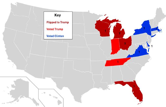 Staaten, in denen Fabriken während der Umstrukturierung von GM 2009 schließen mussten