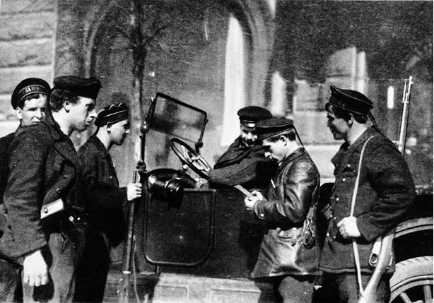 Passkontrolle durch revolutionäre Soldaten