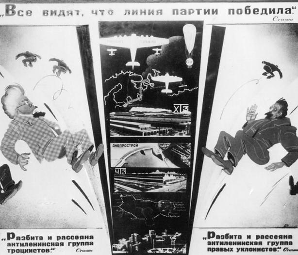 Plakat, das dem siebzehnten Parteitag der KPdSU (B) gewidmet ist. Der Text lautet oben: »Alle sehen, dass die Linie der Partei gesiegt hat.« Stalin unten links: »Zerschlagen und zerstreut ist die antileninistische Gruppe der Trotzkisten.« Stalin unten rechts: »Zerschlagen und zerstreut ist die antileninistische Gruppe der rechten Abweichler.« Stalin. (d.Ü.)