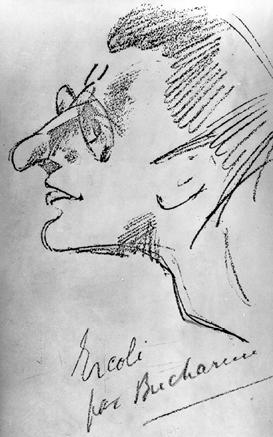 Freundschaftliche Karikatur von Palmiro Togliatti, angefertigt von N. I. Bucharin